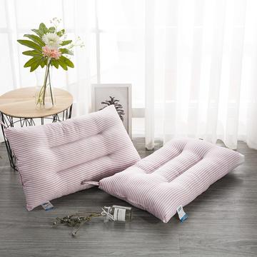 2018新款-水洗棉羽丝绒低枕:48*74cm 条纹粉色/只