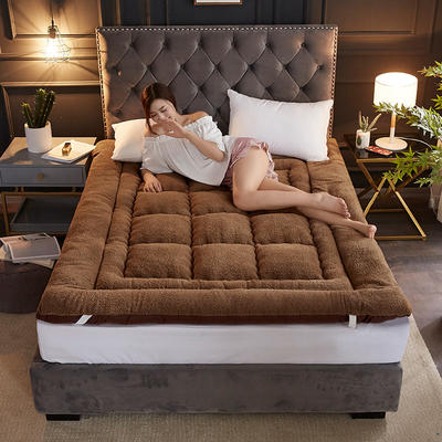 2019新款-羊羔绒床垫 加厚床褥子 1.5*2M 深咖