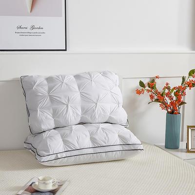 2021新款-全棉扭花羽丝绒枕头面包枕芯单只48*74cm 白色