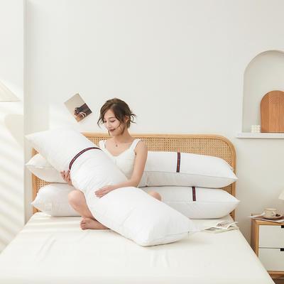 2021新款-全棉情侣双人枕芯  全棉夫妻双人羽丝绒枕头1.5-1.8米 白1.8米
