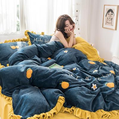 2019新款牛奶絨原創四件套(影棚圖) 1.5m床四件套 橘意盎然藍