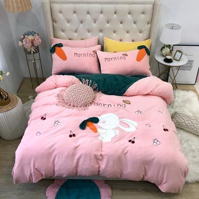 2019新款牛奶絨原創四件套(實拍) 1.5m(5英尺)床單款 早安兔粉