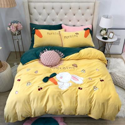 2019新款牛奶絨原創四件套(實拍) 1.5m(5英尺)床單款 早安兔黃