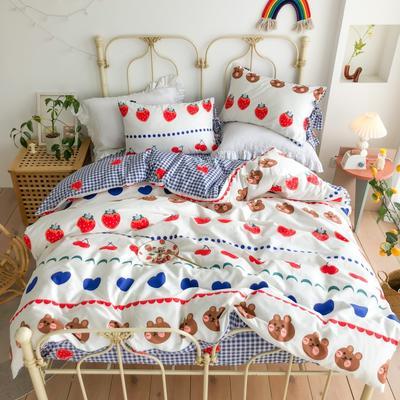 2020新款13372全棉系带款四件套(此款枕套是系带) 1.5m床单款四件套 爱恋熊