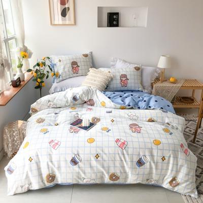 2020新款13372全棉系带款四件套(此款枕套是系带) 1.5m床单款四件套 甜甜圈