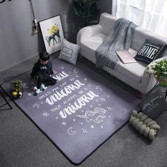2018新款大版水晶绒地垫地毯 150*200 字母独角兽