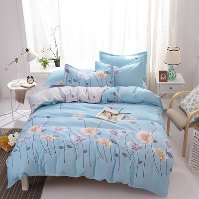 2019新款ab版加厚磨毛印花四件套 1.2m(4英尺)床 如花似锦-蓝