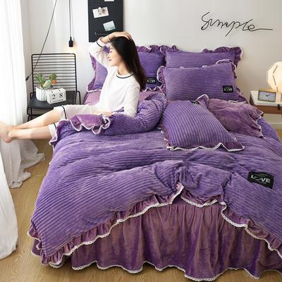 2019新款魔法绒四件套 1.2m床单款 曼斯卡-浅紫