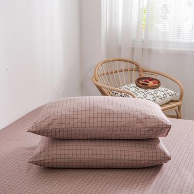 2020新款全棉12868系列-单品枕套 48cmX74cm/对 格韵粉