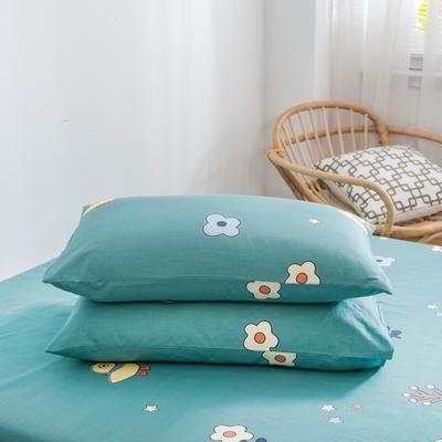 2020新款全棉12868系列-单品枕套 48cmX74cm/对 开心鸭绿