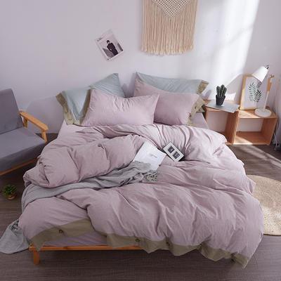 2020新款全棉水洗棉纽扣款四件套 1.2m床单款三件套 粉紫