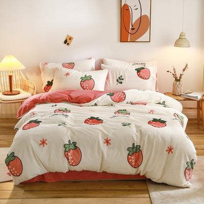 2020新款魔法绒简单款四件套 1.5m床单款四件套 甜心草莓
