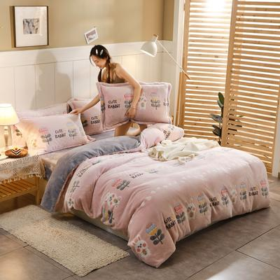 2020新款雪花绒四件套 1.2m床单款三件套 萝卜兔叽-粉