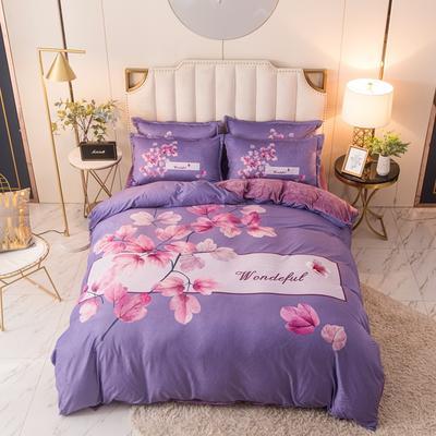 2020新款中国风水晶绒四件套 1.8m床单款四件套 万紫千红