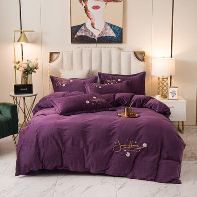 2020新款水晶绒绣花四件套-场景二 1.8m床单款四件套 雏菊-高贵紫