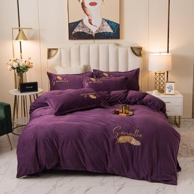 2020新款水晶绒绣花四件套-场景二 1.8m床单款四件套 轻舞-高贵紫