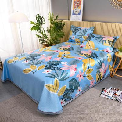 2021新款提花冰丝席冰丝凉席 2.3*2.5m床单  枕套2只 丛林秘境-蓝