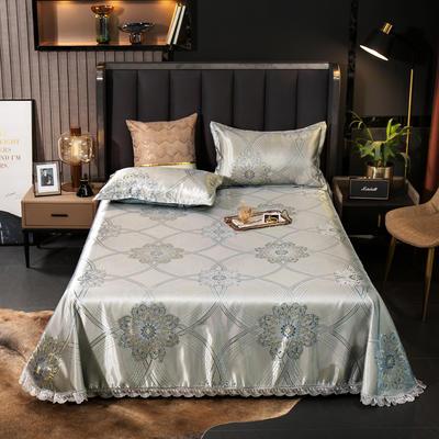 2021新款色织大提花蕾丝花边凉席 2.3*2.5m床单  枕套2只 富瑞格
