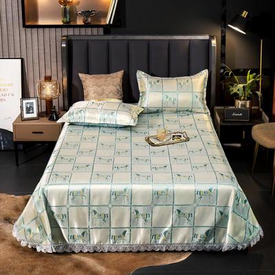 2021新款色织大提花蕾丝花边凉席 2.3*2.5m床单  枕套2只 格旅