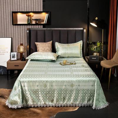 2021新款色织大提花蕾丝花边凉席 2.3*2.5m床单  枕套2只 花涧阁