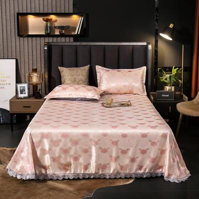 2021新款色织大提花蕾丝花边凉席 2.3*2.5m床单  枕套2只 可爱多