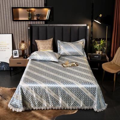2021新款色织大提花蕾丝花边凉席 2.3*2.5m床单  枕套2只 麦琪