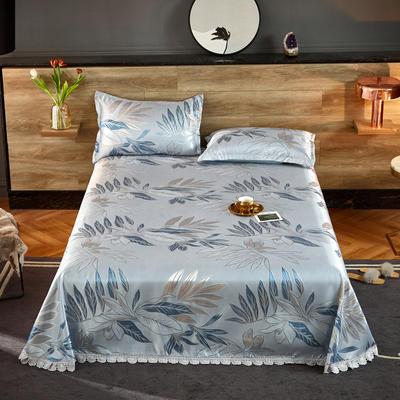 2021新款色织大提花蕾丝花边凉席 2.3*2.5m床单  枕套2只 陌上花开