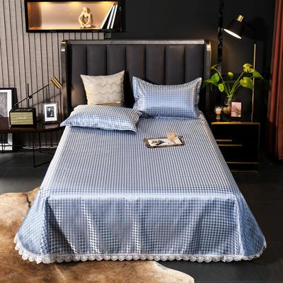 2021新款色织大提花蕾丝花边凉席 2.3*2.5m床单  枕套2只 千鸟格-蓝