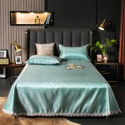 2021新款色织大提花蕾丝花边凉席 2.3*2.5m床单  枕套2只 千鸟格-绿