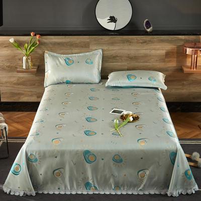 2021新款色织大提花蕾丝花边凉席 2.3*2.5m床单  枕套2只 趣味果香