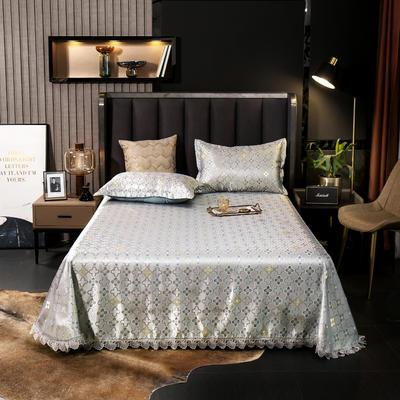 2021新款色织大提花蕾丝花边凉席 2.3*2.5m床单  枕套2只 维莎