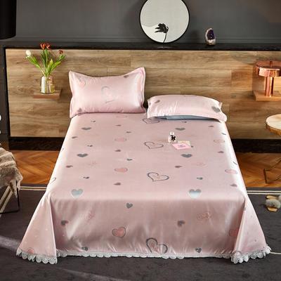 2021新款色织大提花蕾丝花边凉席 2.3*2.5m床单  枕套2只 心雨恋