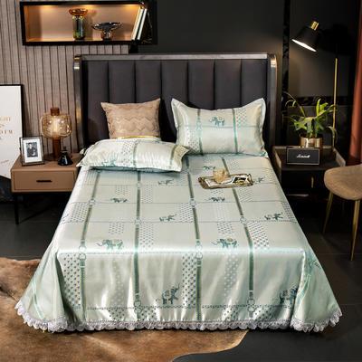 2021新款色织大提花蕾丝花边凉席 2.3*2.5m床单  枕套2只 印象风范