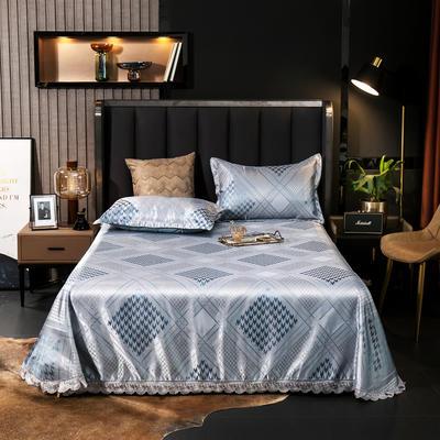 2021新款色织大提花蕾丝花边凉席 2.3*2.5m床单  枕套2只 遇见