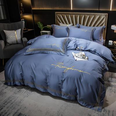 2021新款100s长绒棉刺绣四件套 1.8m(6英尺)床 如本-景泰星兰