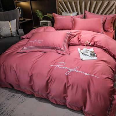 2021新款100s长绒棉刺绣四件套 1.8m(6英尺)床 如本-玫瑰深红