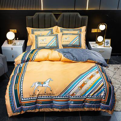 2021新款大版水洗真丝四件套 1.8m(6英尺)床 艾玛仕黄