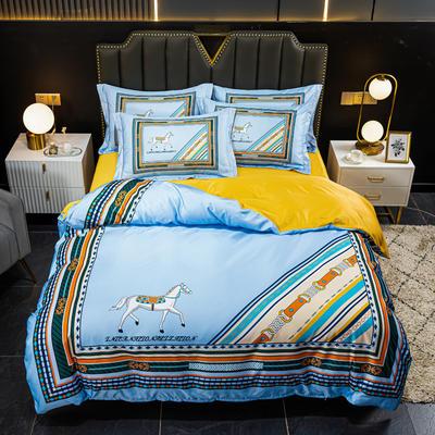 2021新款大版水洗真丝四件套 1.8m(6英尺)床 艾玛仕蓝