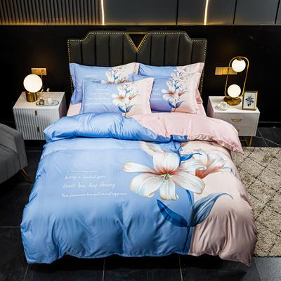 2021新款大版水洗真丝四件套 1.8m(6英尺)床 风雅粉黛