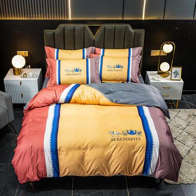 2021新款大版水洗真丝四件套 1.8m(6英尺)床 皇驾车-橘
