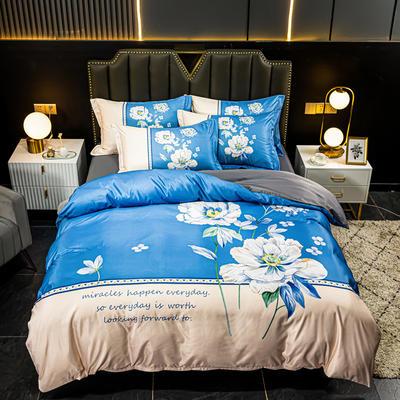 2021新款大版水洗真丝四件套 1.8m(6英尺)床 陌上花开-蓝