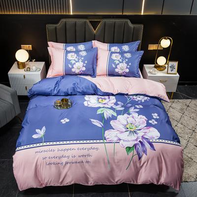 2021新款大版水洗真丝四件套 1.8m(6英尺)床 陌上花开-紫