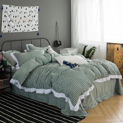 2018新款水洗棉色织夏被四件套 夏被款四件套1.5m1.8m 绿白小格