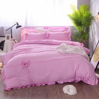 2018新款韩版色织四件套 1.5m-1.8m(床) 粉紫小格