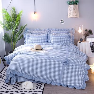 2018新款韩版色织四件套 1.5m-1.8m(床) 浅蓝小格