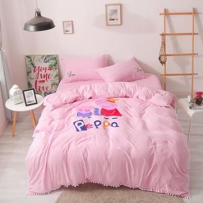 2018球球款卡通印花四件套 1.2m(4英尺)床 小猪佩奇粉