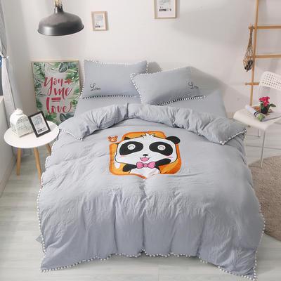 2018球球款卡通印花四件套 1.5m(5英尺)床 熊猫