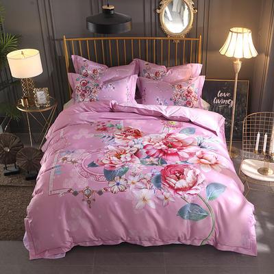 2018大版数码印花四件套 1.8m(6英尺)床 中式玫瑰-粉色