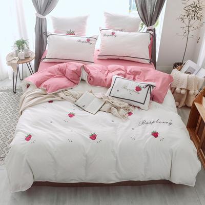 2018新款全棉水洗棉绣花四件套 1.8m(6英尺)床 小树莓