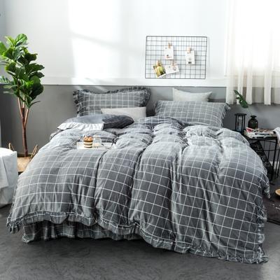 2018新款水晶绒床裙款四件套 1.8m(6英尺)床 时尚灰
